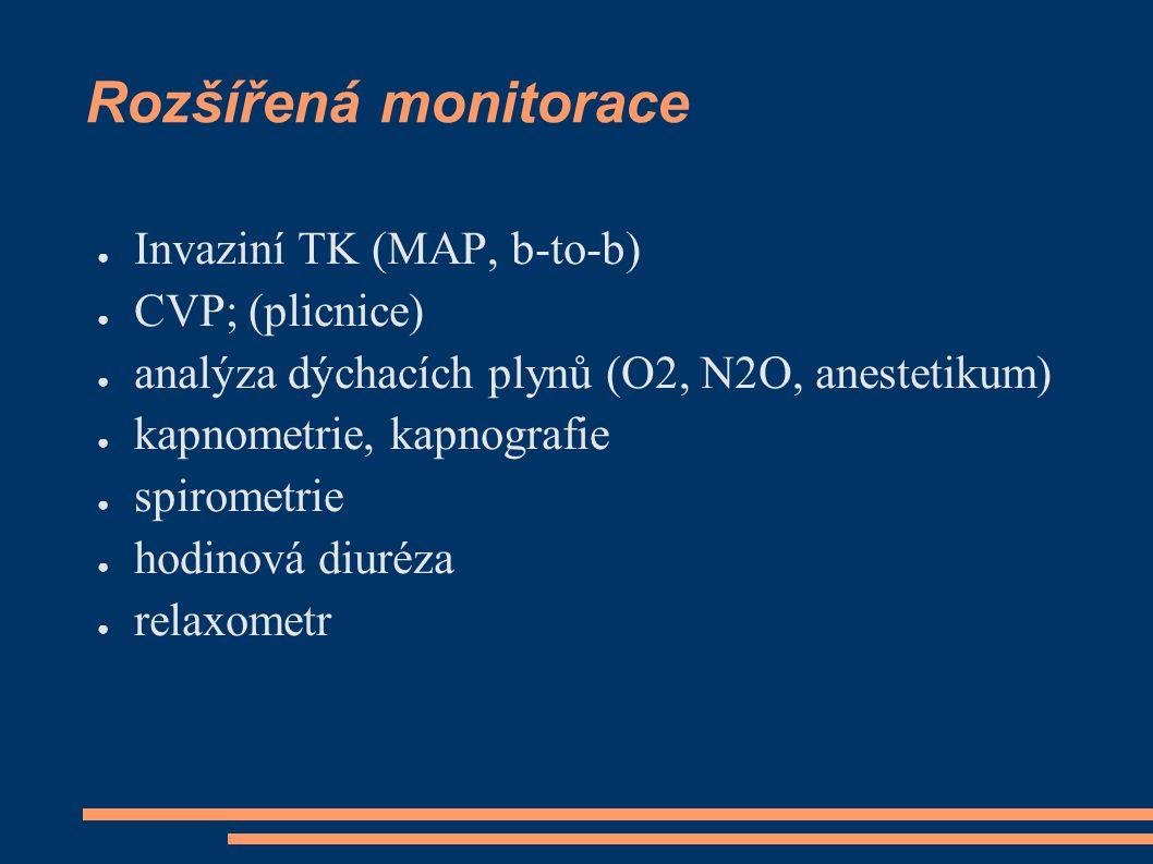 Rozšířená monitorace Invaziní TK (MAP, b-to-b) CVP; (plicnice)