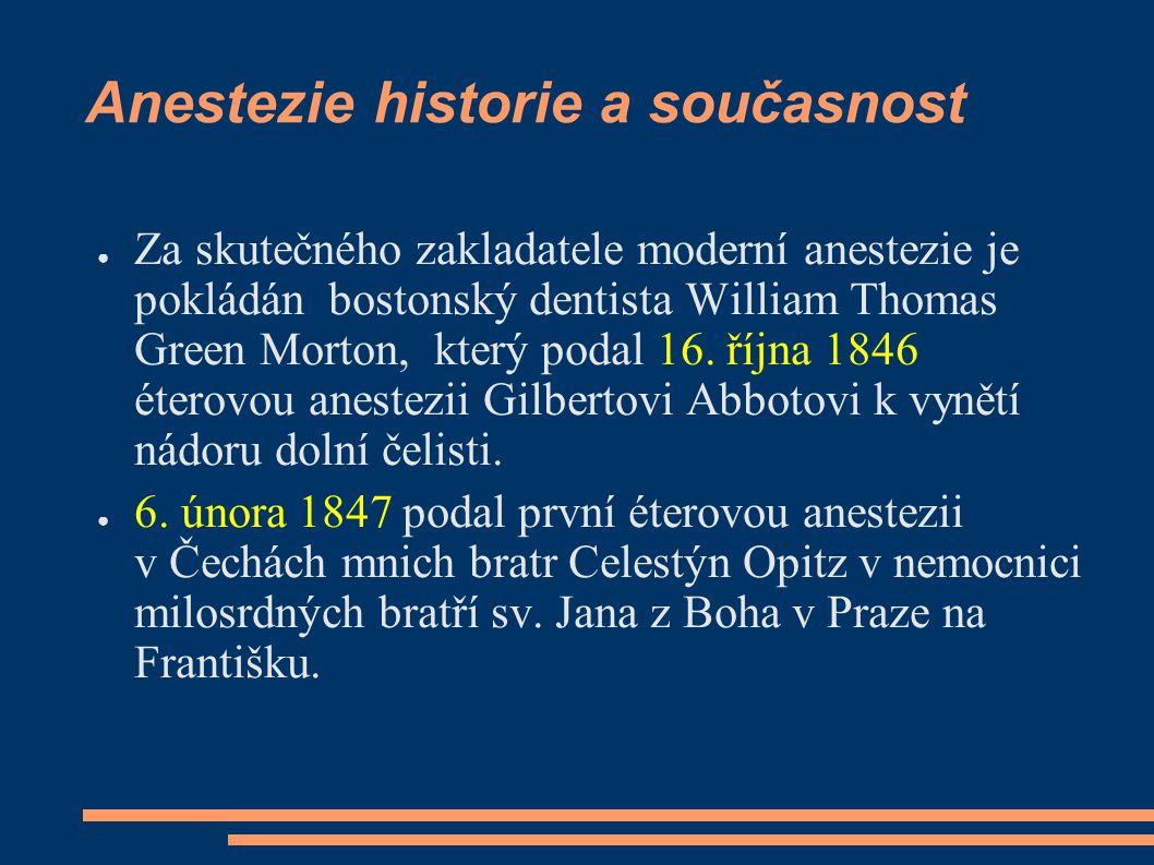 Anestezie historie a současnost
