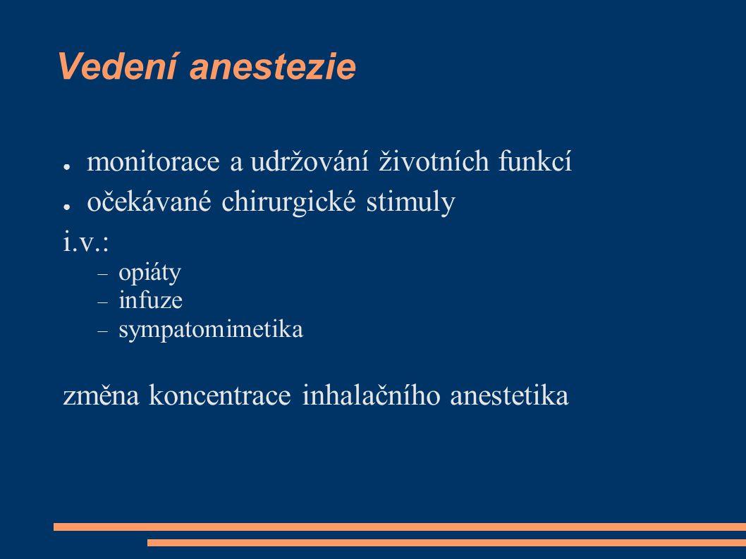 Vedení anestezie monitorace a udržování životních funkcí