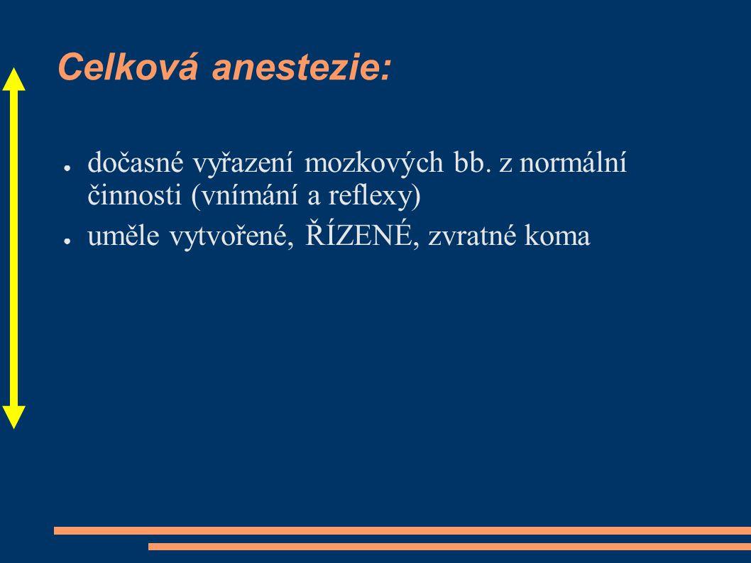 Celková anestezie: dočasné vyřazení mozkových bb.