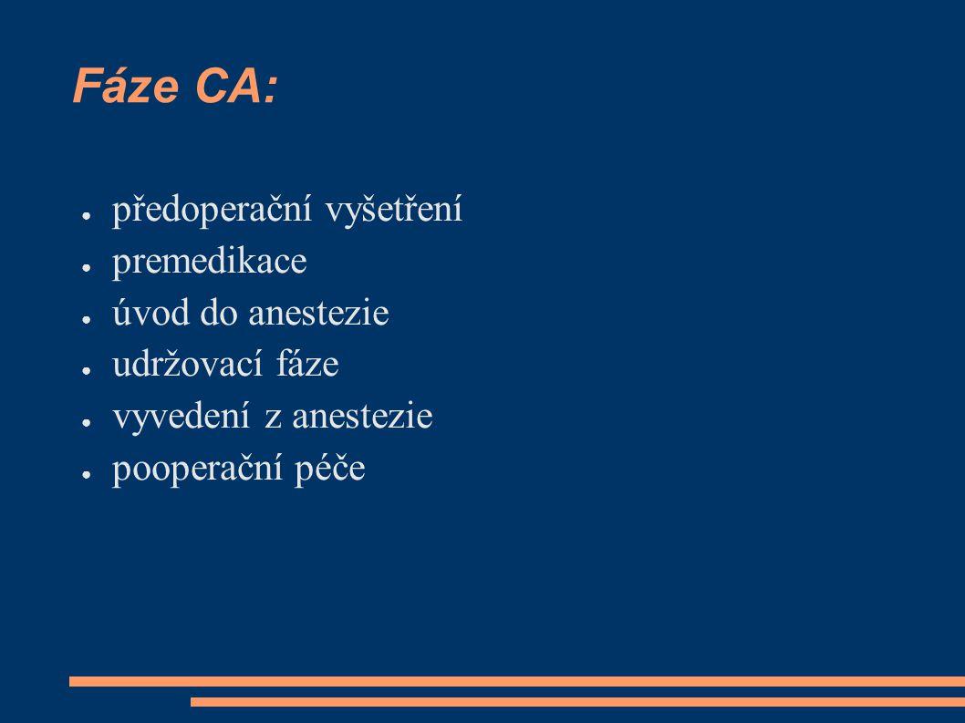 Fáze CA: předoperační vyšetření premedikace úvod do anestezie