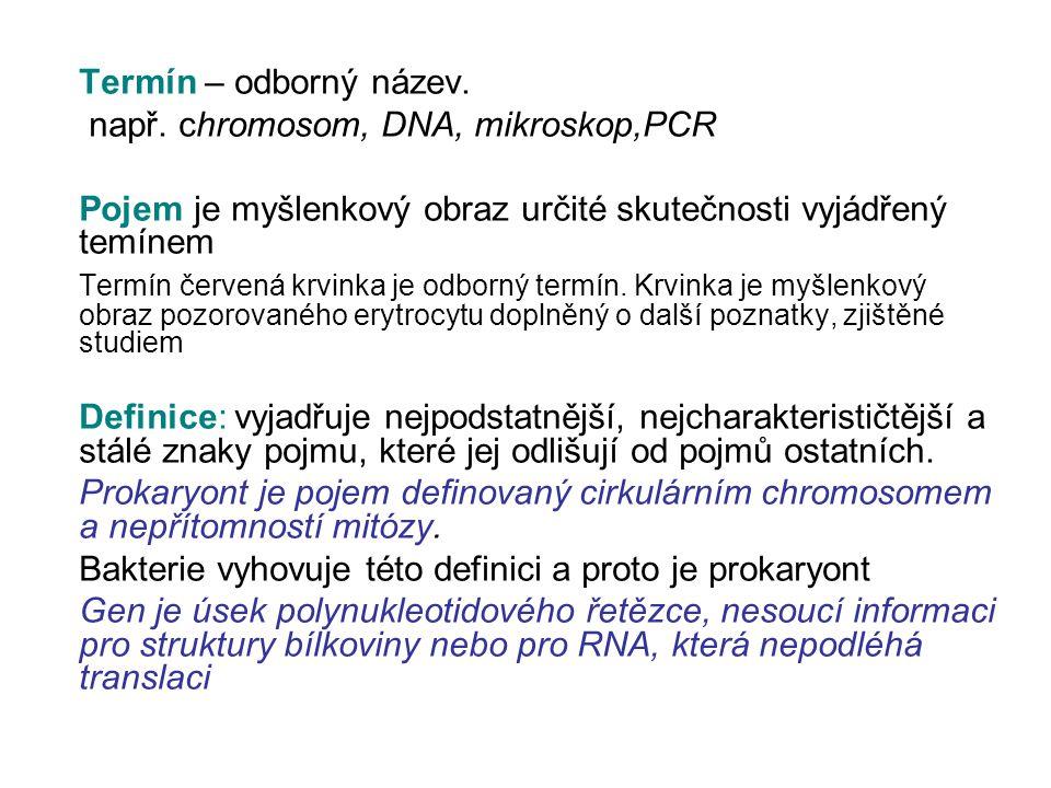 Termín – odborný název. např. chromosom, DNA, mikroskop,PCR. Pojem je myšlenkový obraz určité skutečnosti vyjádřený temínem.