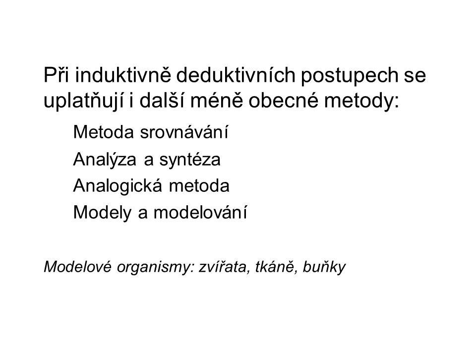 Při induktivně deduktivních postupech se uplatňují i další méně obecné metody: