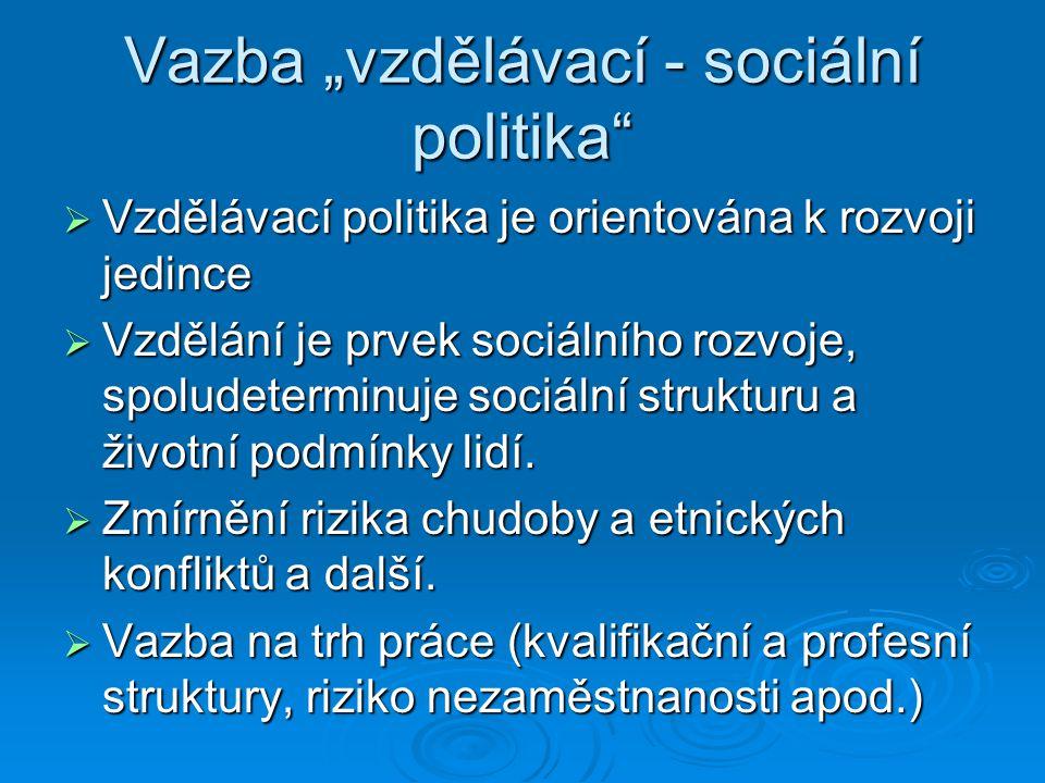 """Vazba """"vzdělávací - sociální politika"""