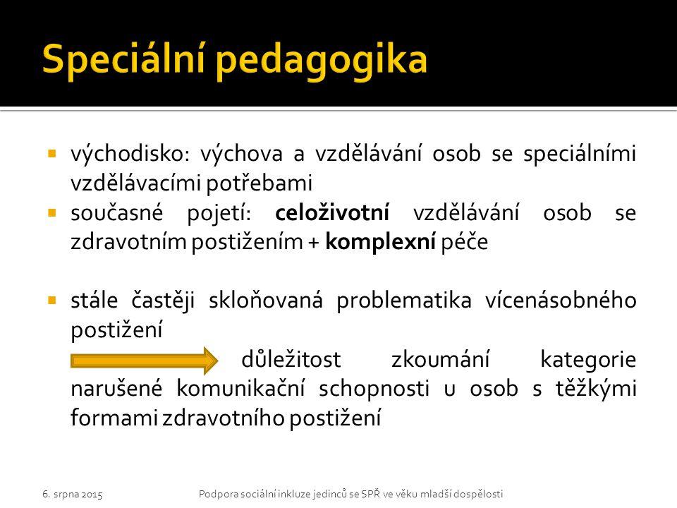 Speciální pedagogika východisko: výchova a vzdělávání osob se speciálními vzdělávacími potřebami.