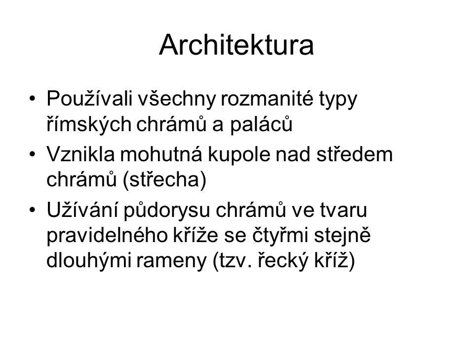 Architektura Používali všechny rozmanité typy římských chrámů a paláců