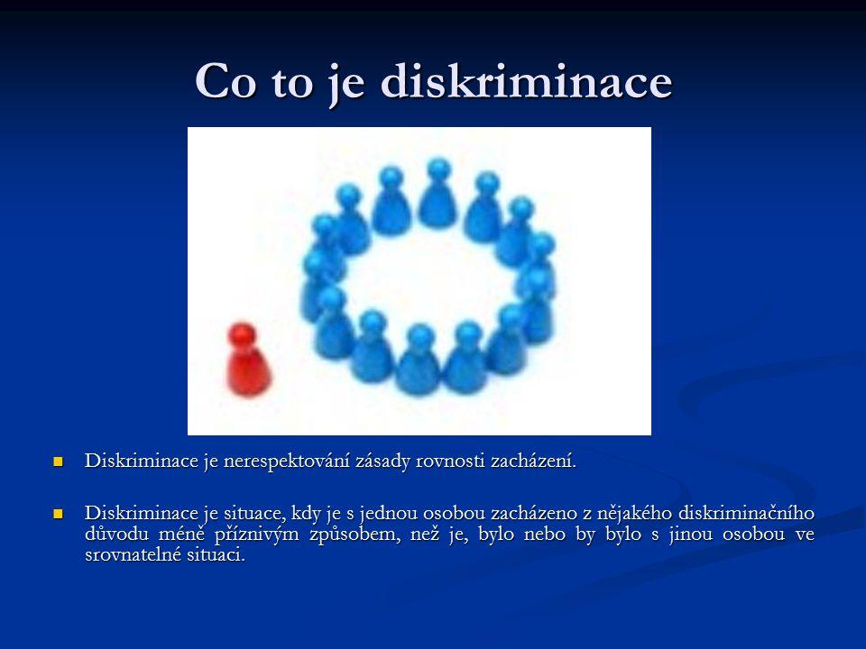 Co to je diskriminace Diskriminace je nerespektování zásady rovnosti zacházení.
