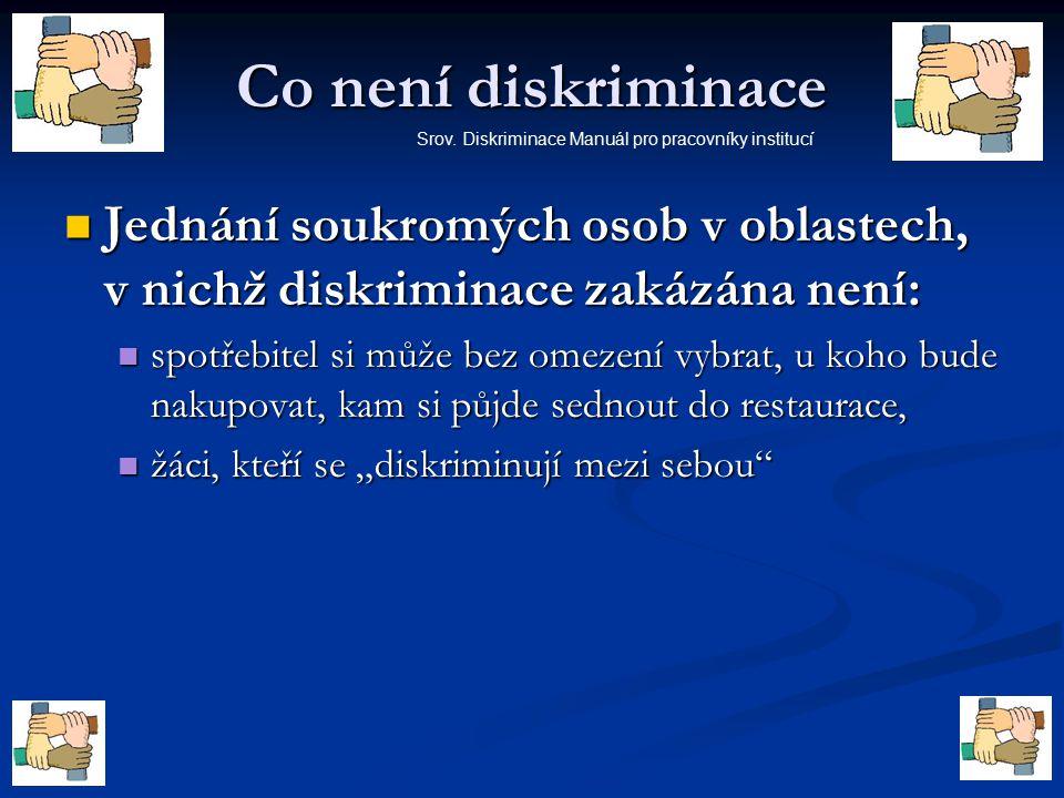Co není diskriminace Srov. Diskriminace Manuál pro pracovníky institucí. Jednání soukromých osob v oblastech, v nichž diskriminace zakázána není: