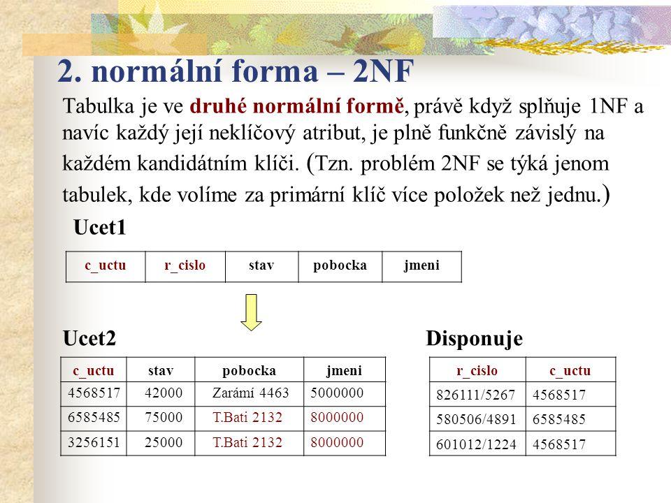 2. normální forma – 2NF