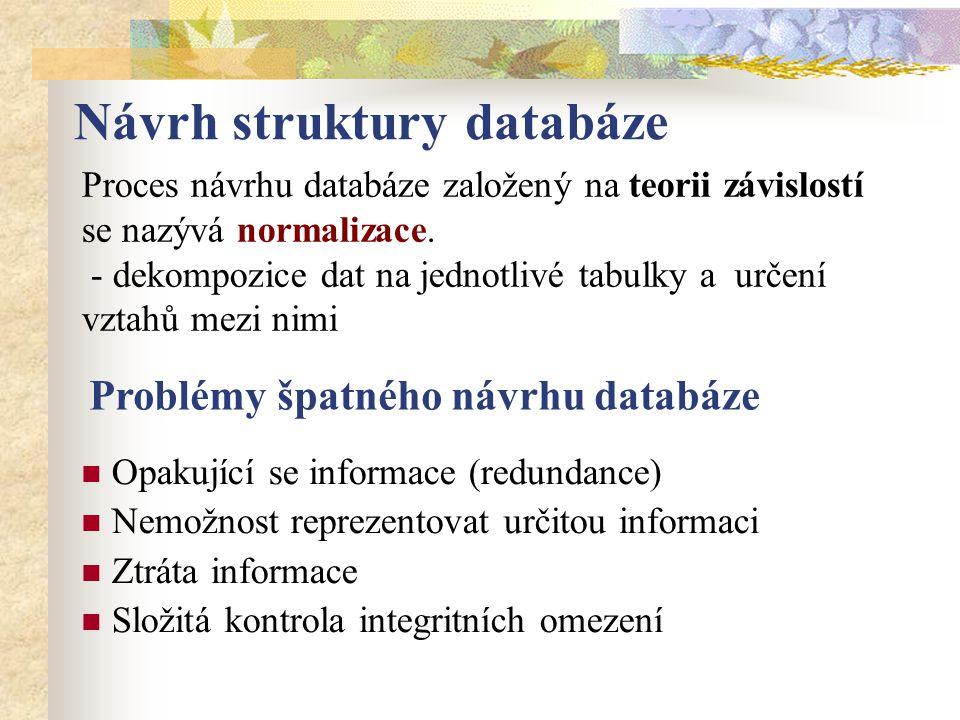 Návrh struktury databáze