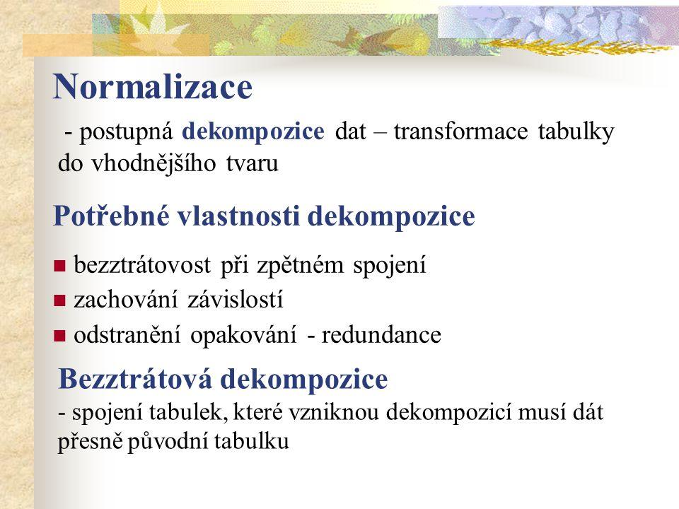 Normalizace Potřebné vlastnosti dekompozice