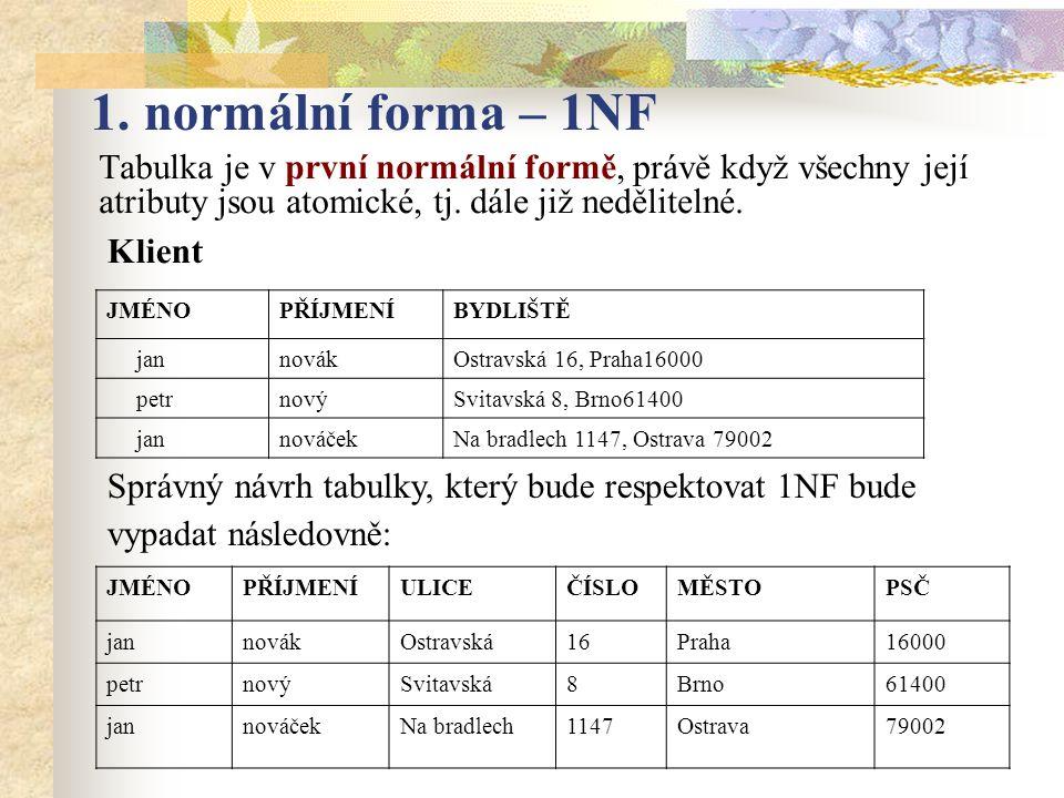1. normální forma – 1NF Tabulka je v první normální formě, právě když všechny její atributy jsou atomické, tj. dále již nedělitelné.