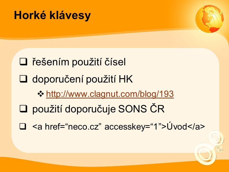 Horké klávesy řešením použití čísel doporučení použití HK