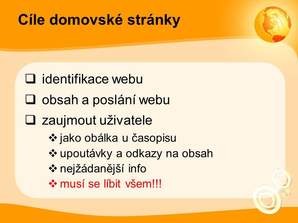 Cíle domovské stránky identifikace webu obsah a poslání webu