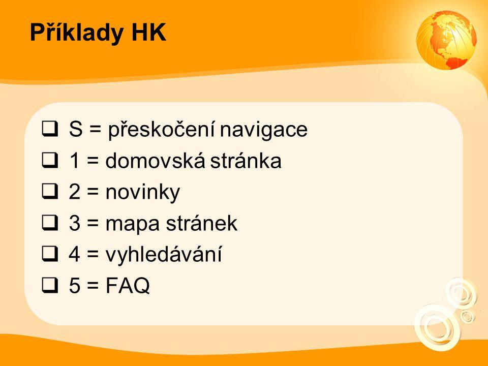 Příklady HK S = přeskočení navigace 1 = domovská stránka 2 = novinky