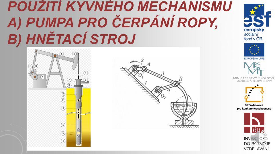Použití kyvného mechanismu a) pumpa pro čerpání ropy, b) hnětací stroj