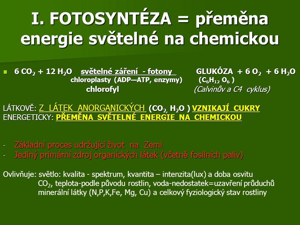 I. FOTOSYNTÉZA = přeměna energie světelné na chemickou