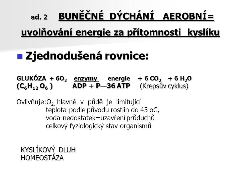 ad. 2 BUNĚČNÉ DÝCHÁNÍ AEROBNÍ= uvolňování energie za přítomnosti kyslíku