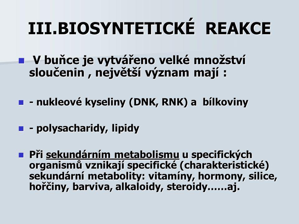 III.BIOSYNTETICKÉ REAKCE
