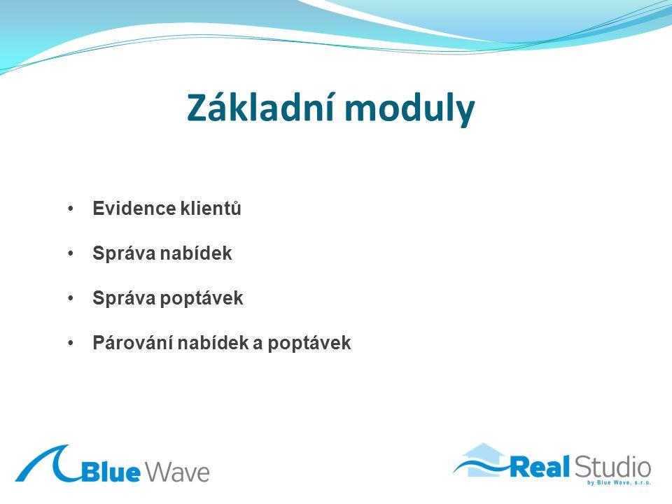 Základní moduly Evidence klientů Správa nabídek Správa poptávek