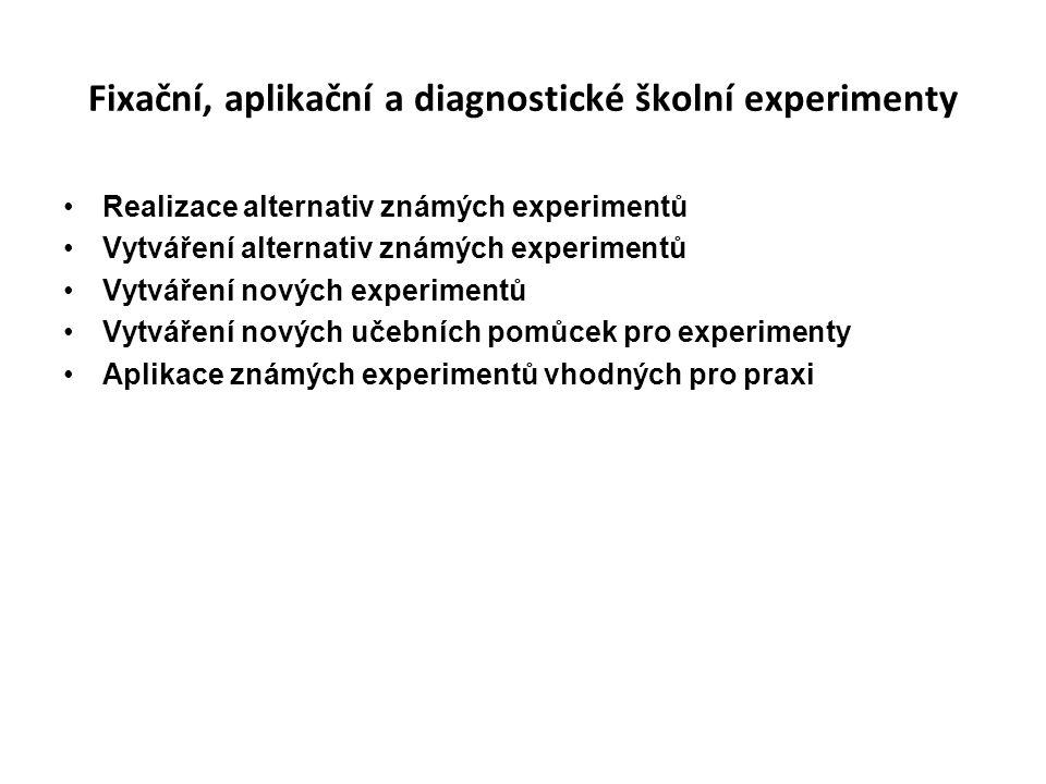 Fixační, aplikační a diagnostické školní experimenty