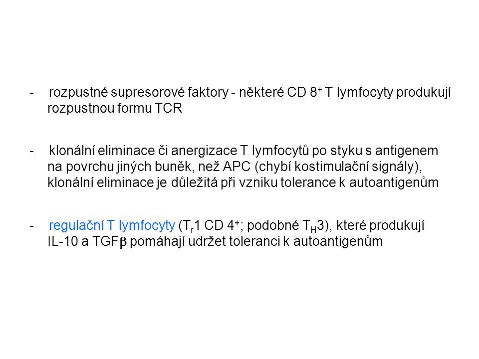 - rozpustné supresorové faktory - některé CD 8+ T lymfocyty produkují rozpustnou formu TCR