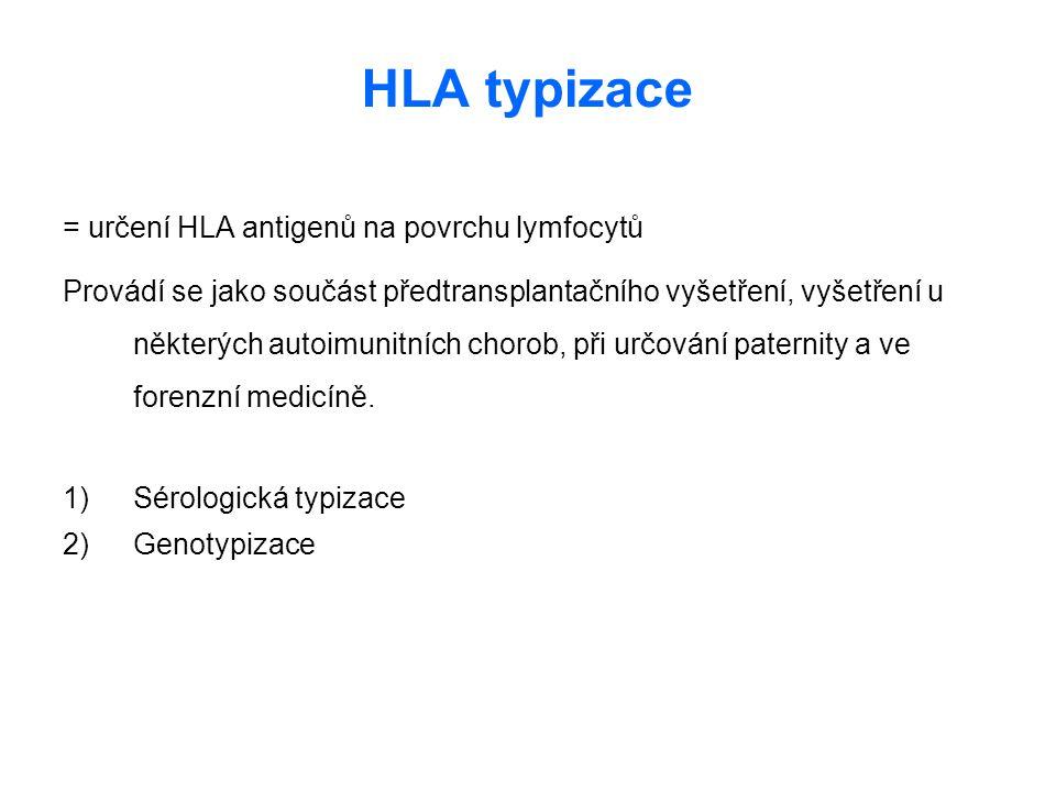 HLA typizace = určení HLA antigenů na povrchu lymfocytů