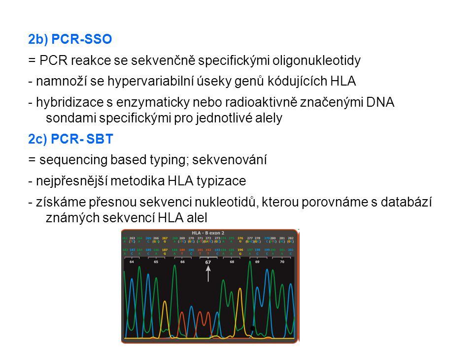 2b) PCR-SSO = PCR reakce se sekvenčně specifickými oligonukleotidy. - namnoží se hypervariabilní úseky genů kódujících HLA.