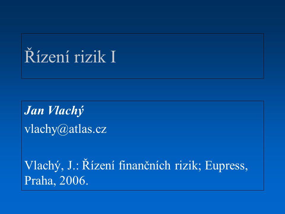 Řízení rizik I Jan Vlachý vlachy@atlas.cz
