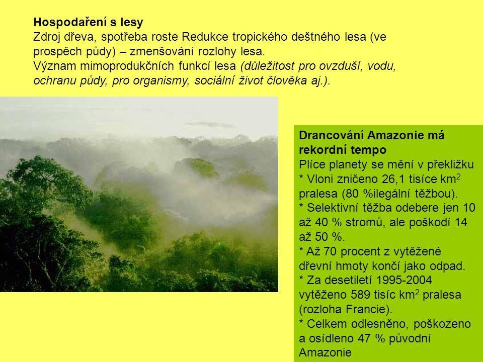 Hospodaření s lesy Zdroj dřeva, spotřeba roste Redukce tropického deštného lesa (ve prospěch půdy) – zmenšování rozlohy lesa.