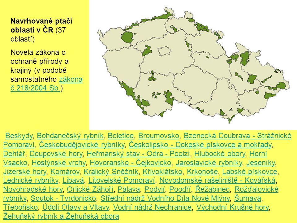 Navrhované ptačí oblasti v ČR (37 oblastí)