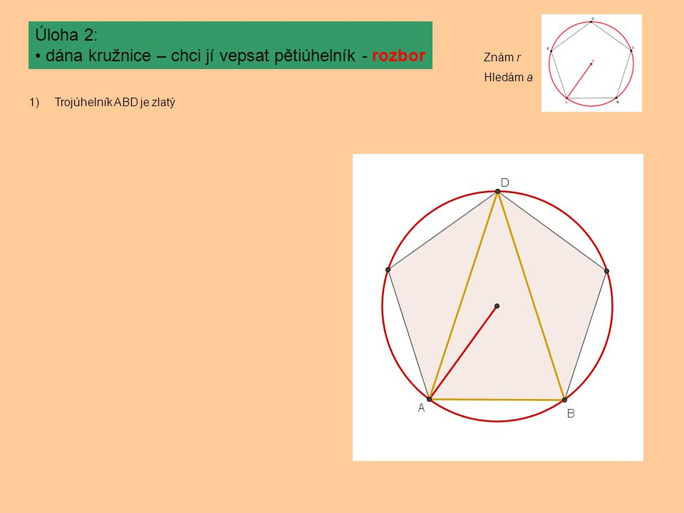 dána kružnice – chci jí vepsat pětiúhelník - rozbor