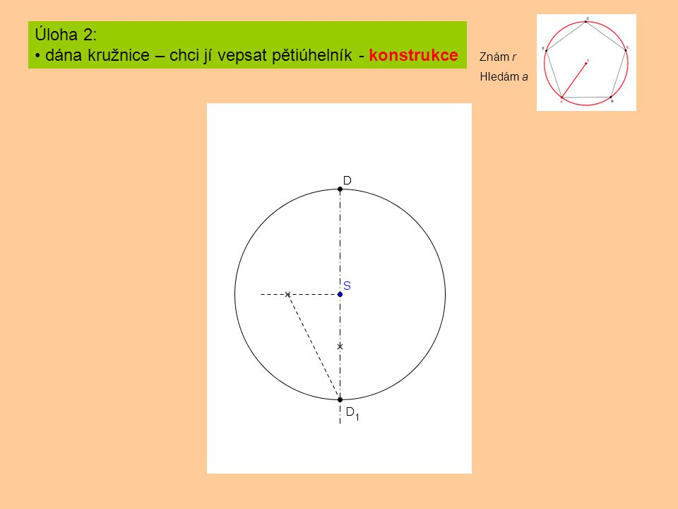 dána kružnice – chci jí vepsat pětiúhelník - konstrukce