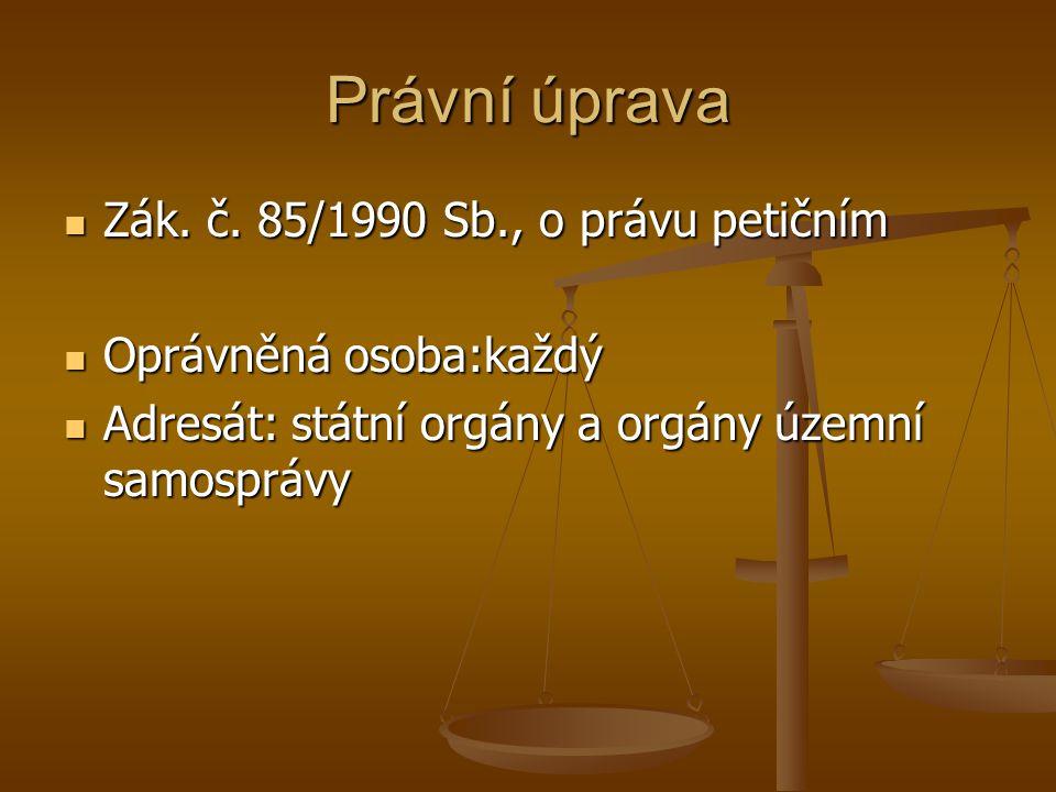 Právní úprava Zák. č. 85/1990 Sb., o právu petičním