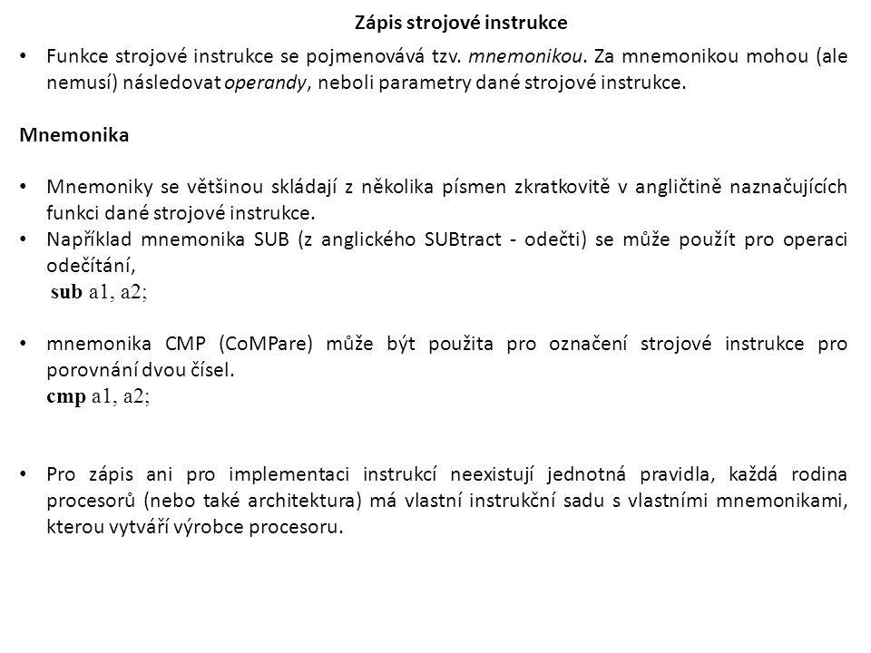 Zápis strojové instrukce