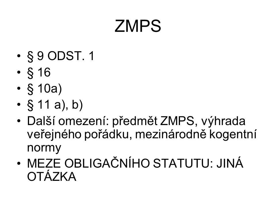 ZMPS § 9 ODST. 1. § 16. § 10a) § 11 a), b) Další omezení: předmět ZMPS, výhrada veřejného pořádku, mezinárodně kogentní normy.