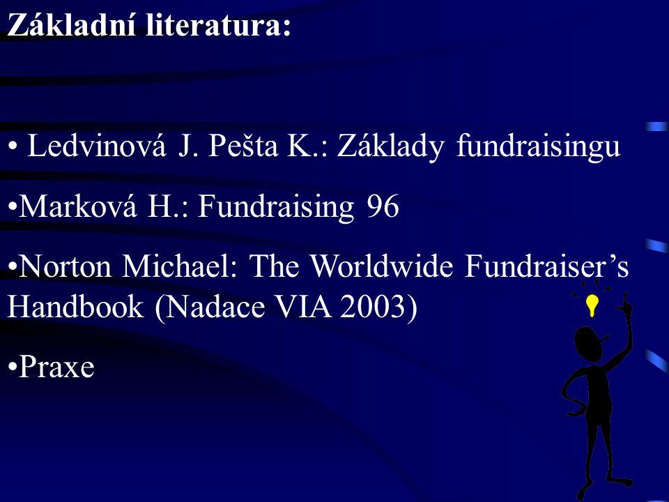 Základní literatura: Ledvinová J. Pešta K.: Základy fundraisingu. Marková H.: Fundraising 96.