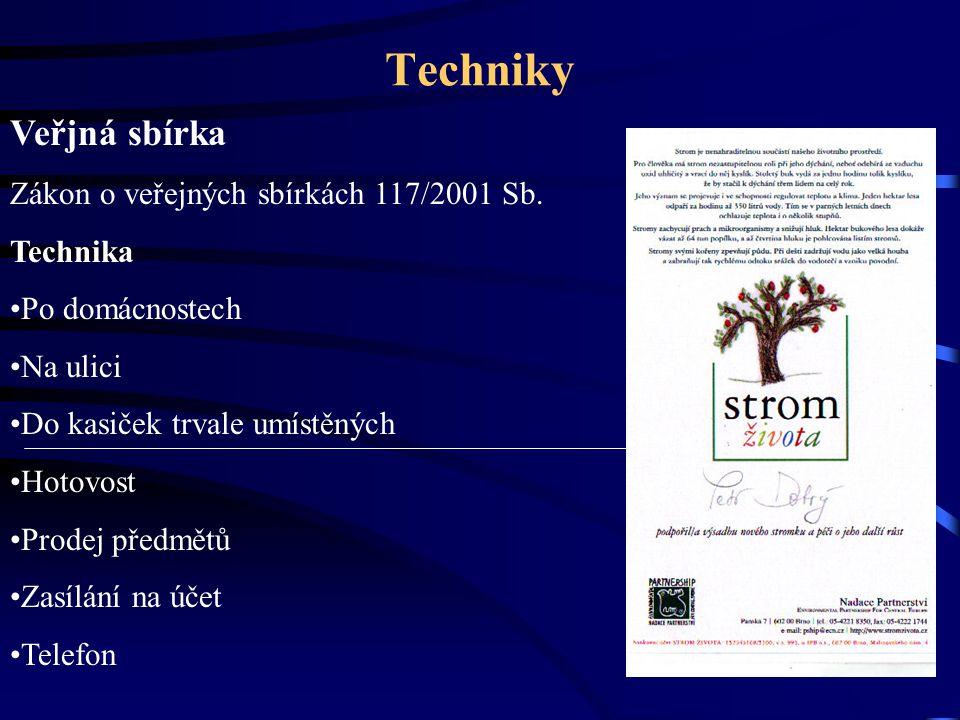 Techniky Veřjná sbírka Zákon o veřejných sbírkách 117/2001 Sb.