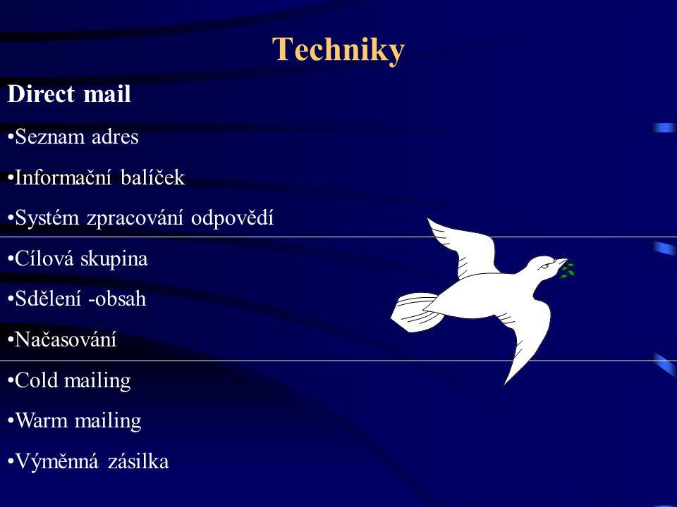 Techniky Direct mail Seznam adres Informační balíček