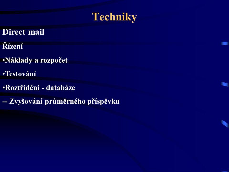 Techniky Direct mail Řízení Náklady a rozpočet Testování