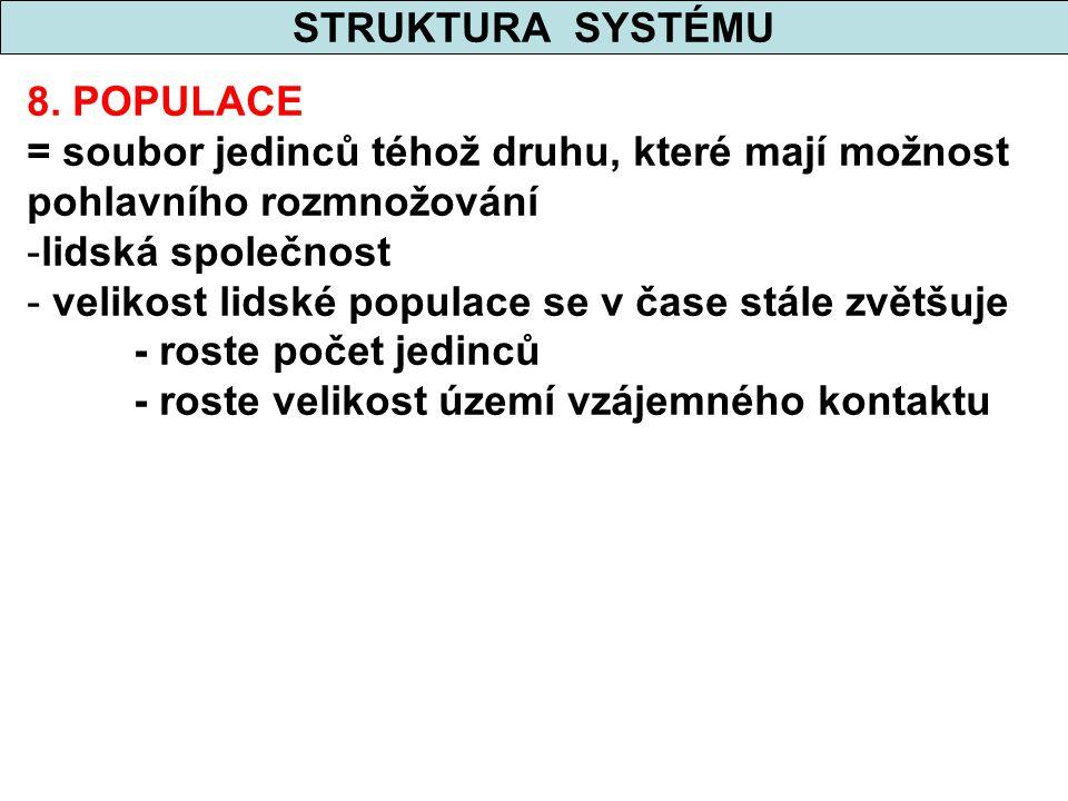 STRUKTURA SYSTÉMU 8. POPULACE. = soubor jedinců téhož druhu, které mají možnost pohlavního rozmnožování.