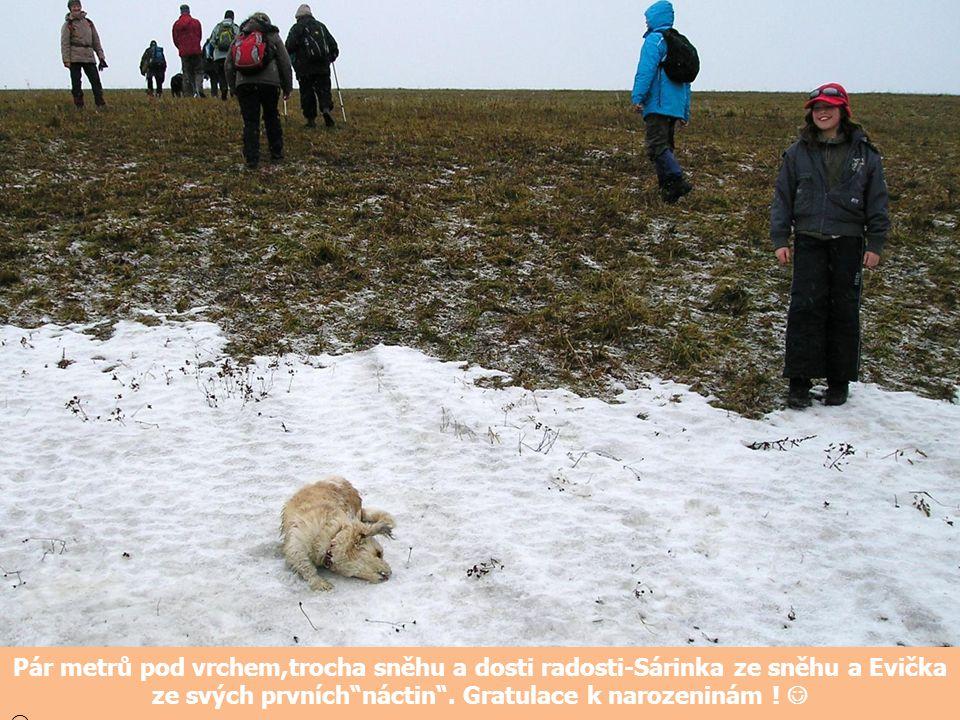 Pár metrů pod vrchem,trocha sněhu a dosti radosti-Sárinka ze sněhu a Evička ze svých prvních náctin . Gratulace k narozeninám ! 