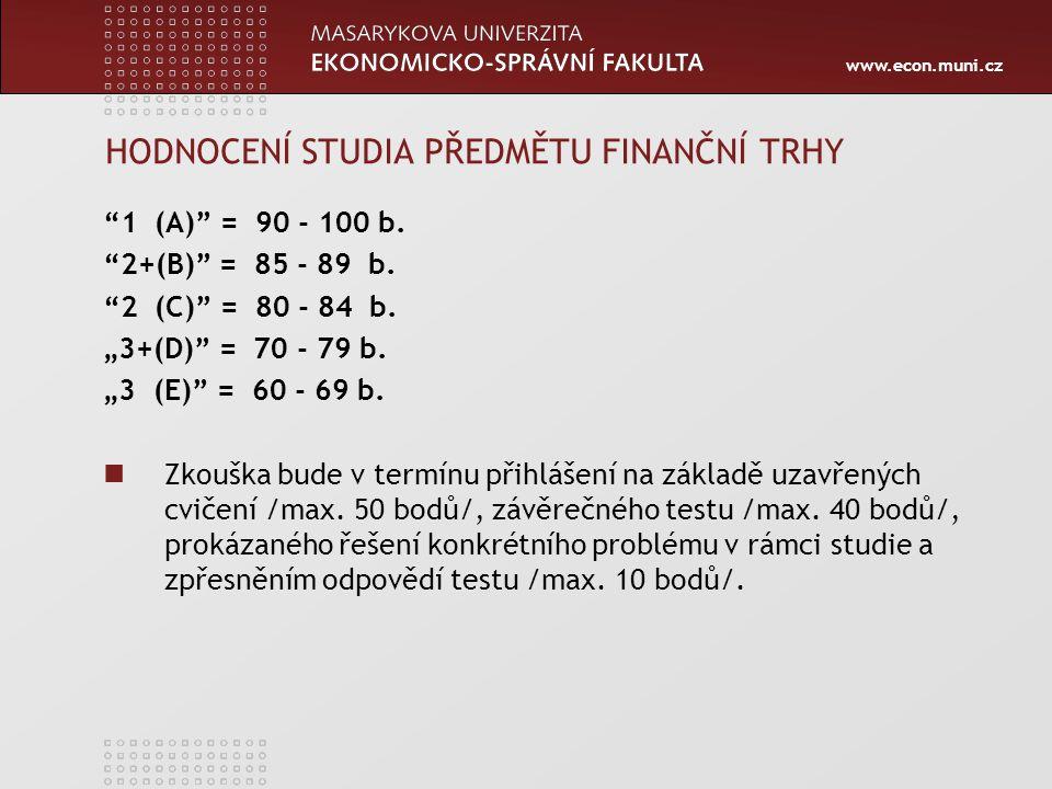 HODNOCENÍ STUDIA PŘEDMĚTU FINANČNÍ TRHY