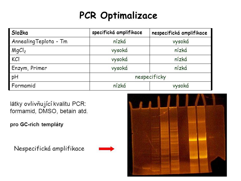 PCR Optimalizace látky ovlivňující kvalitu PCR: