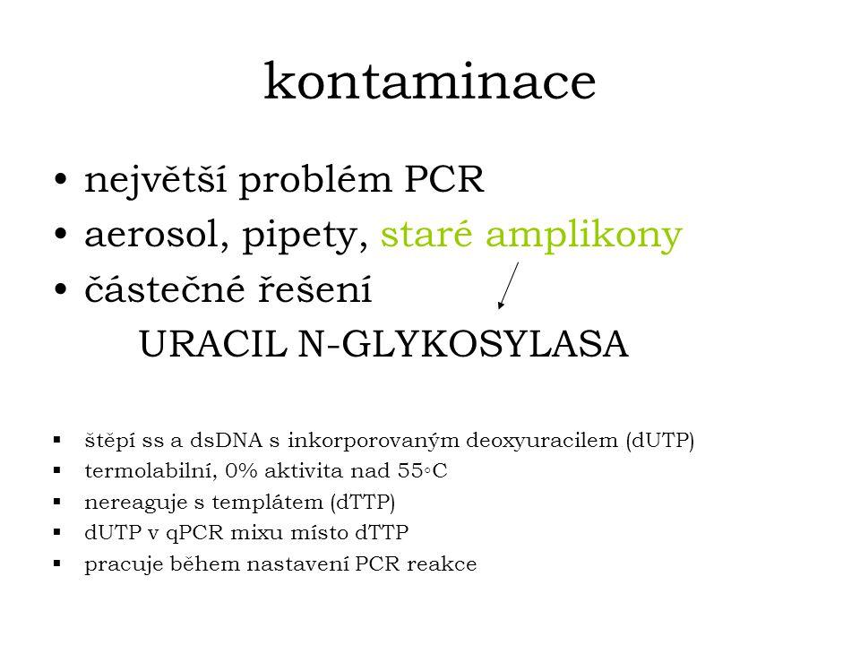 kontaminace největší problém PCR aerosol, pipety, staré amplikony