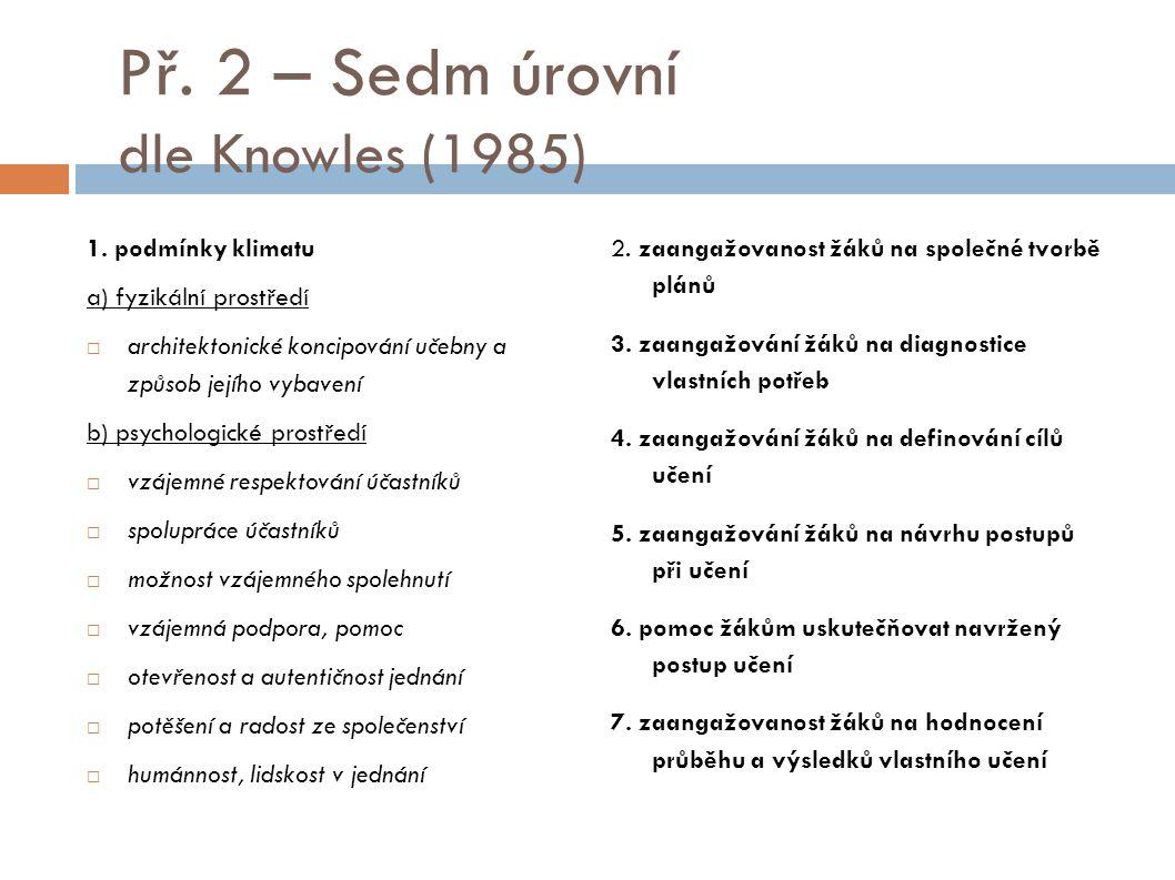 Př. 2 – Sedm úrovní dle Knowles (1985)