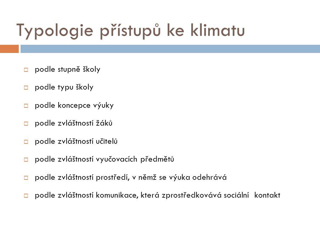 Typologie přístupů ke klimatu