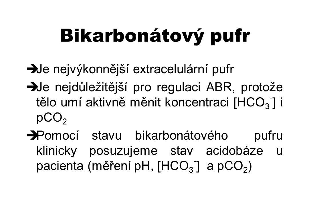 Bikarbonátový pufr Je nejvýkonnější extracelulární pufr
