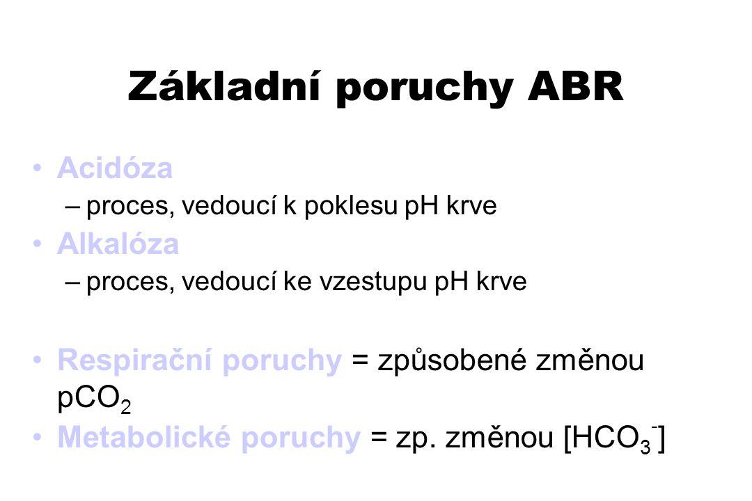 Základní poruchy ABR Acidóza Alkalóza