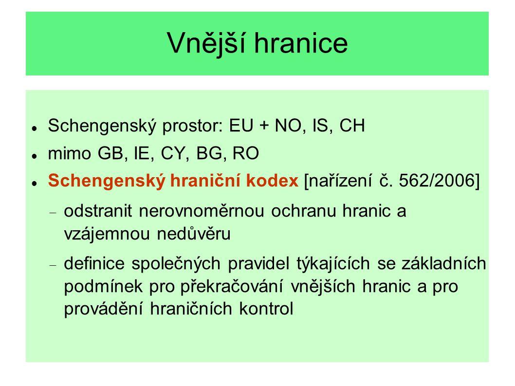 Vnější hranice Schengenský prostor: EU + NO, IS, CH